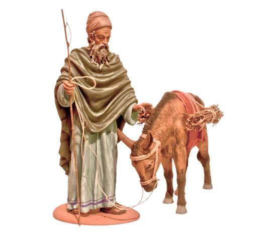 Figuras de Belén de Resina, Anciano con Burro RS42